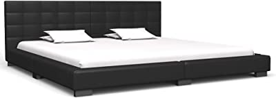 vidaXL King Bed Frame Faux Leather Strong Wood Frame Rubber Legs Slat Support Mattress Foundation Upholstered Bed Bedroom Furniture Black