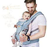 Baby - Carrier, 6-in-1 Baby Carrier with Waist Stool-, FRUITEAM Baby Carrier with Hip Seat for Breastfeeding, One Size Fits All - Adapt to Newborn, Infant & Toddler (Blue)