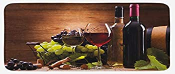 Ambesonn Kitchen Mat Glasses of Red and White Wine Served with Grapes French Gourmet Tasting Plush Decorative Kitchen Mat with Non Slip Backing 47  X 19  Brown Ruby