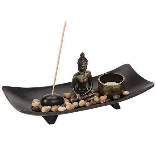 Buddha Kerzenhalter Tabletop Buddha Zen Garten Bronze Vintage Weihrauchbrenner Weihrauchbrenner Tabletop Räucherstäbchenhalter für Wohnkultur Geschenk Meditation Entspannen Sie sich