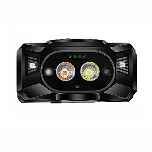 Weskjer Unidades Linterna Frontal LED USB Recargable, 6 Modos de Luz , Linternas Cabeza Impermeable, Sensor Inteligente, Linterna Cabeza LED para Correr, Camping, Excursión