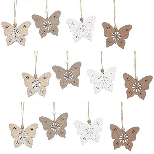 SIDCO Hänger Schmetterling 12 x Anhänger Fensterhänger Fensterdeko Holz Frühling Deko