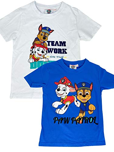 PAW PATROL - Jungen T-Shirt Motiv 2020 Chase + Marshall - Doppelpack Blau & Weiß, Größe:110/116