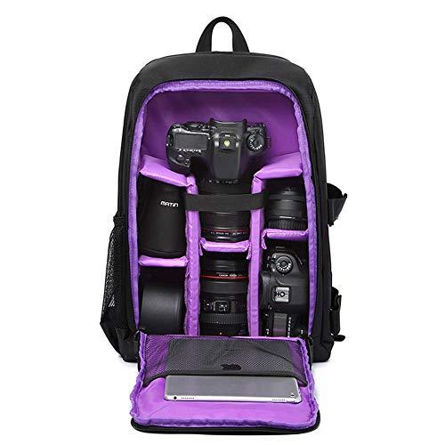 """Mochila para Cámaras Réflex y Accesorios con Acolchada a Prueba de Choques y Ordenador Portátil 15,6"""" Mochila Viaje Impermeable para Nikon Canon Sony con Cubierta de Lluvia (Morado)"""
