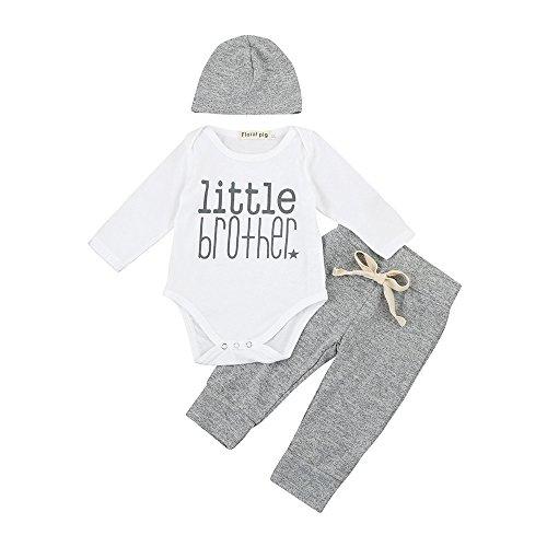 Covermason Conjunto de Bebé-niños, Little Brother Impresión Bodies Mono y Pantalones y Sombrero