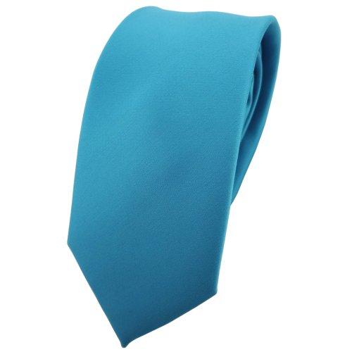 TigerTie schmale Satin Krawatte in türkis türkisblau wasserblau einfarbig uni