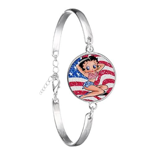 Betty Boop Uniforme vestido serie patrón arte foto pulsera DIY encantos pulsera cadena para mujeres hombres maravilloso regalo
