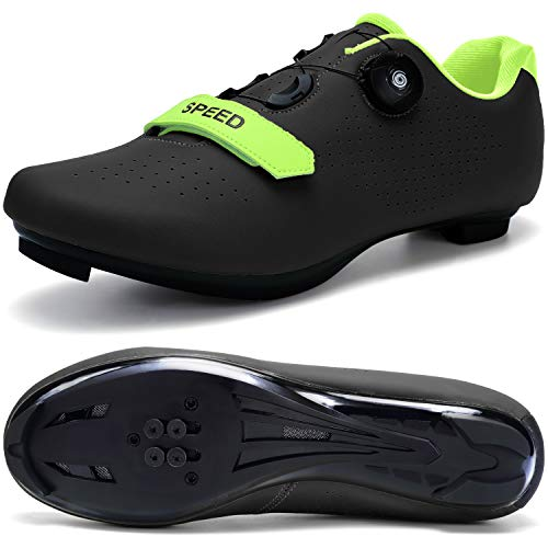 SWISSWELL Men's Road Cycling Shoes Compatible Mountain Bike with SPD/SPD-SL & Fast Rotating Buckle (Black,13.5 Women/11 Men)