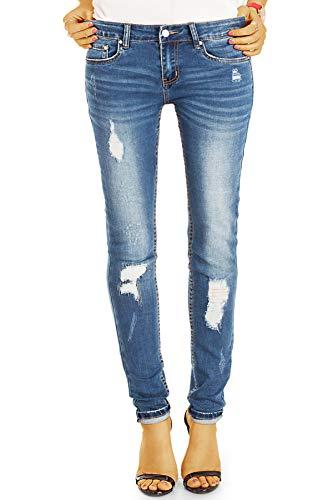 bestyledberlin Damen Röhrenjeans, Used Look Skinny Fit Jeans, Sehr Enge aufgerissene Jeans j46k-1 36/S