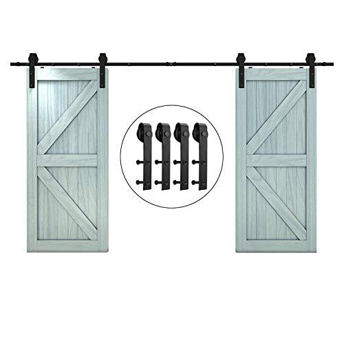 12ft Sliding Barn Door Hardware Kit,Hardware for Barn Doors Antique Style,Slide Smoothly Quietly,Factory Outlet Upgraded Version Quality Carbon Steel-(J Shape Hanger,Double Door;Black)