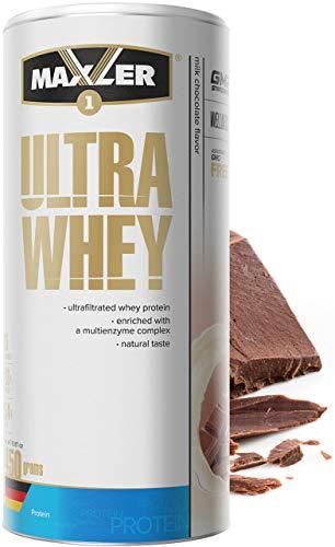 Maxler Ultra Whey Protein Pulver - Natürlich schmeckendes Protein Whey - Eiweiß Shake für Muskelaufbau, Wiederherstellung, Pre Workout & Post Workout - Whey Protein Schoko - 450 g