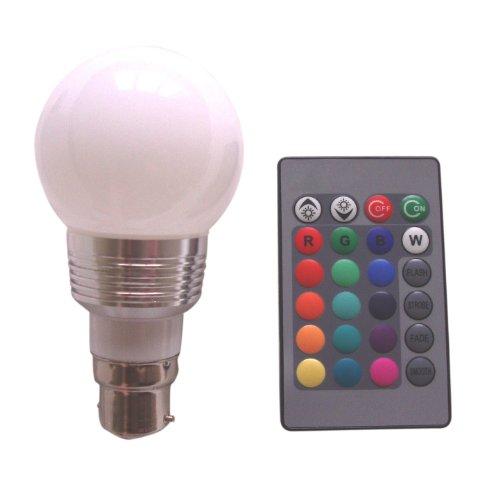 Amazon.co.uk - B22 3W 16 Colors Changing RGB LED Mood Spot Light Lamp Bulb + IR Remote Control