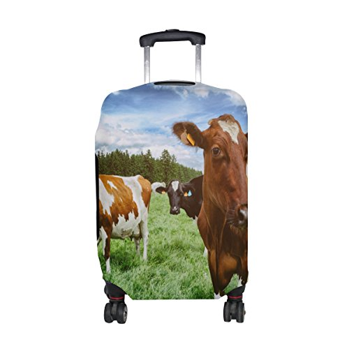 Sale!! ALAZA Herd Cows Nature Landscape Green Field Farm Luggage Cover Elastic Suitcase Protector fo...