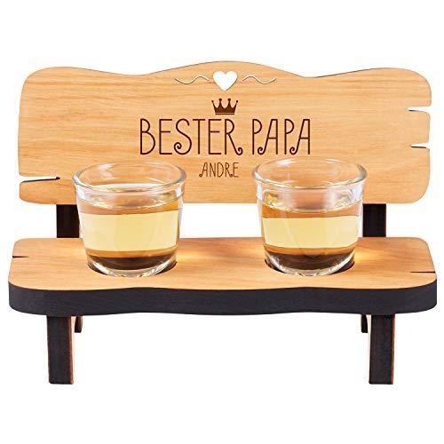 Geschenke 24 Holz Schnapsbank Bester Papa mit Namen graviert - mit 2 Gläsern, personalisiertes Vatertagsgeschenk