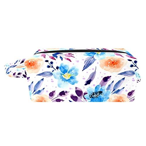 Bolsa para Cosméticos Flor Azul Violeta Bolsas de Maquillaje de Viaje Portátil Neceser de Maquillajepara para Mujeres niñas 3