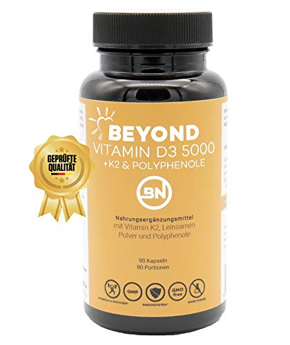 NEU 2020: Beyond Vitamin D3 5000 + K2 Trans-MK7 mit Leinsamen Pulver als Omega-3 Quelle & Polyphenole, 90 Kapseln - hochdosiert, vegetarisch, ohne Zusatzstoffe