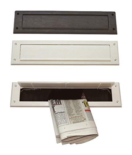 Innenklappe-für die Türinnenseite-Mit Bürste-Kunststoff-340x81 mm-Briefeinwurf-Briefklappe-Briefschlitz (340 x 81 mm, Kunststoff weiß)