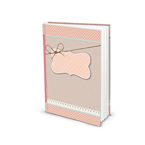 Logbuch-Verlag - Pequeño cuaderno de color rosa y rojo, diario, libro en blanco, cuaderno de regalo, tamaño DIN A5, estilo rústico, libro universal para escribir tu propia historia, regalo para niñas