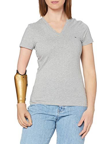 Tommy Hilfiger Heritage V-nk tee Camiseta, Gris (Light Grey Htr 039), X-Large para Mujer
