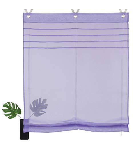 7Morning Rollos Ösenrollo Gardinen Vorhang Raffrollos mit Haken Schlaufen Voile Transparent Vorhang BxH 80x140cm,Lila