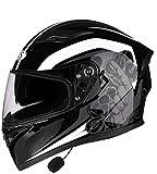 Crash moto modular Bluetooth Helme antiniebla El tirón dual viseras motocross cascos de la cara llena Racing casco de la motocicleta, ECE / DOT Aprobado L = 58 ~ los 59CM (Color: D, tamaño: M) xuwuhz