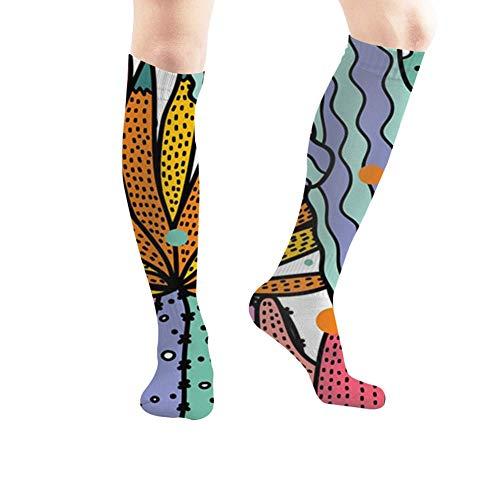 Qifejko Kompressionsstrümpfe, niedlicher Kaktus, bunt, Sportsocken, lange Strümpfe, 50 cm