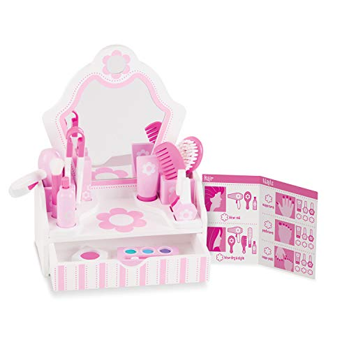 Melissa & Doug Wooden Beauty Salon Play Set With Vanity and Accessories (18 pcs)