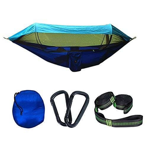 COJJ Camping Hamaca, sombrilla de Tela de paracaídas con Hamaca Neta, al Aire Libre, Doble, Doble, Apagado de la Tienda aérea de Tierra, 290x140cm (Azul/Azul Claro)