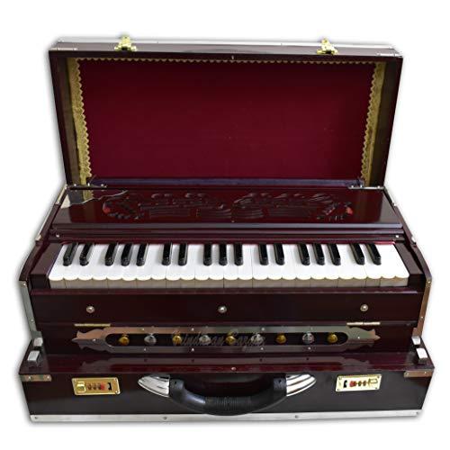 VRINDAVANBAZAAR.COM Deluxe Portable Harmonium, Dark Mahogany, 2 Reeds, 3.5 octaves, Coupler
