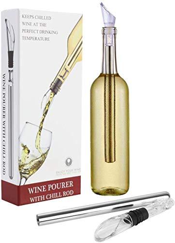 Enfriador, aireador y boquilla para botella de vino (3 en 1)