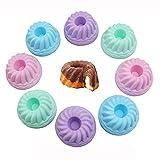 Mopoin Gugelhupfform Silikon, 12 Stück Mini Gugelhupfform Silikon Gugelhupf Backform Kuchenform Set, Wiederverwendbare Minigugelhupfformen für Machen Köstlichen Kuchen Dessert Schokolade, 4 Farben