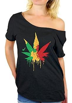 Awkward Styles Women s Rasta Leaf Off The Shoulder Tops for Women T Shirts Marijuana Leaf Pot Leaf Black 2XL