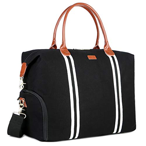 BAOSHA Canvas Leather Travel tote Weekender Bag Overnight Carry-on Bag With Shoe Compartment for Women HB-28 (Oversized Black)