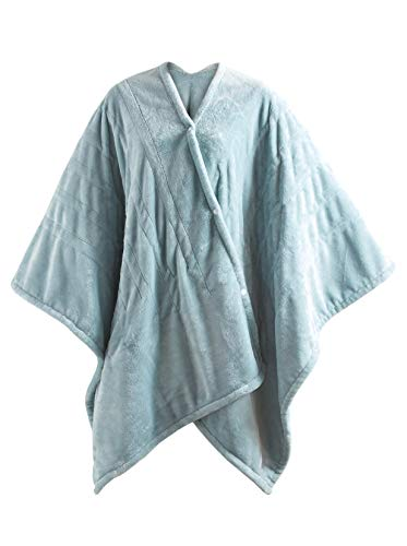 MP2 Fleece Heated Blanket Wrap Shawl, Wearable Electric Poncho Throw with Buttons, 3 Heating Settings & 2 Hours Auto Shut Off, 50'x 64' Seafoam