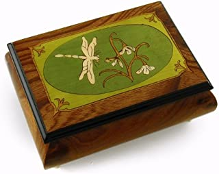 Tranquil 30 Note Olive Green and Wood Tone Dragonfly Music Box - Many Songs Available - Tristesse