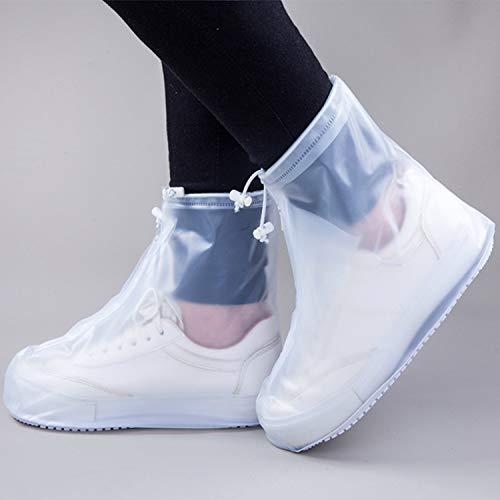 Mannen Vrouwen Waterdichte Schoenen Covers voor Rain Flats Enkellaarzen Stofhoes Organisatoren PVC Herbruikbare Antislip Regenhoes voor Schoenen, Wit, L