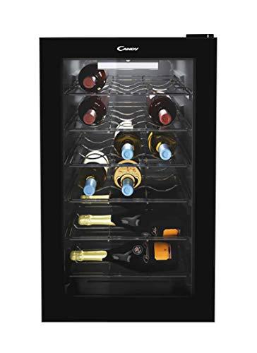 Candy CWC 021MK Freestanding Wine Cooler, Single Zone Temperature, 21 Bottle Storage, 40cm wide, Black, Chrome Shelves