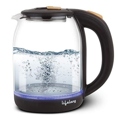 Lifelong LLEK20 Glass Electric Kettle 1.8 Litre with LED Illumination, Heat Resistant Pyrex Clear Glass Body (1500 W)