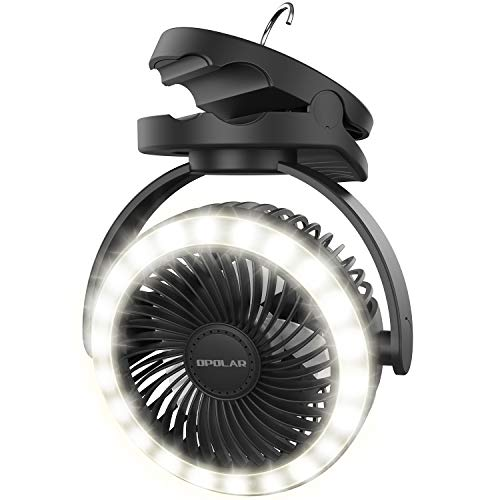 OPOLAR 10000mAh Camping Lantern Clip On Fan with 22 LED Lights, Battery Operated Desk Fan with Hanging Hook, 4 Speeds, Strong Wind, USB Fan, 40 Hours Work Time, 360° Rotation, Time Setting, Suitable for Tents, Gazebo, Home, Office, Baby Stroller