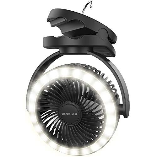 OPOLAR Linterna de camping de 10000 mAh con 22 luces LED, ventilador de escritorio con gancho para colgar, 4 velocidades, viento...