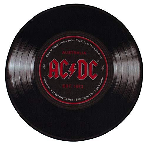 AC/DC Z870815 50 Teppich rund Schallplatte, Schwarz, Ø 50 cm