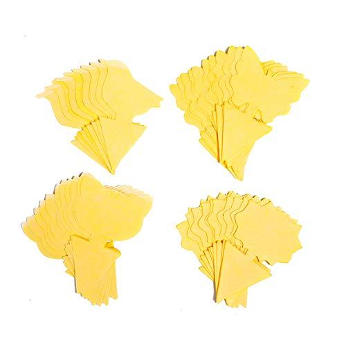 Allein 44PCS Gelbsticker, Gelbtafeln klein, steckbare Fliegenfalle, Gemusterte Klebende Fliegenfalle für Zimmerpflanzen und Topfpflanze, Gelb Fliegenfänger Sticker, Klebrige Insektenfallen
