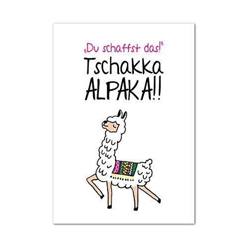 Poster, Wanddeko, Bild, Kunstdruck, Sprüche, Motivation, think positive, Alpaka, Glück, positives Denken, Lama