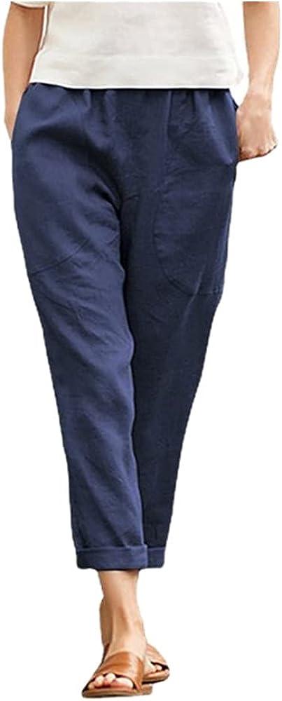 Casual Pants Women's Solid Color Nine-Point Pants Loose Women's Stretch Loose Pants Blue