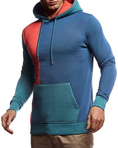 Leif Nelson Herren Hoodie Pullover mit Kapuze Kapuzenpullover für Männer Pulli Longsleeve Sweatshirt Langarm Slim Fit LN8350; Größe M, Indigo
