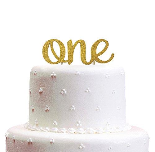 One Tortenaufsatz, handgefertigt 1. First Baby Birthday Cake Topper Dekoration–One–mit doppelseitig Gold Glitter Lager - gold