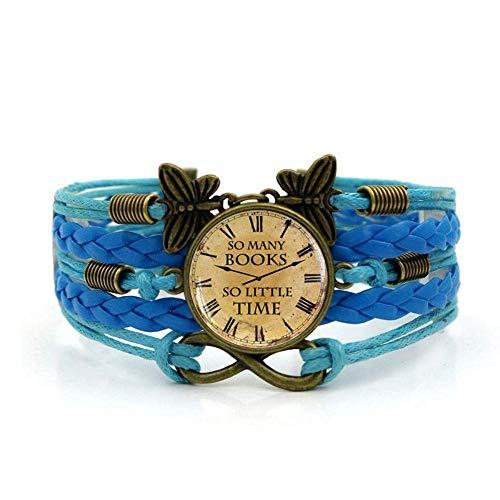 DZX Gewebtes Armband, Retro-Uhrenkunst mit blauem Seil, Zeitedelsteinarmband Mehrschichtiger handgewebter Glaskombinationsschmuck Damenmode Schmuck im europäischen und amerikanischen Stil, Modearmbän