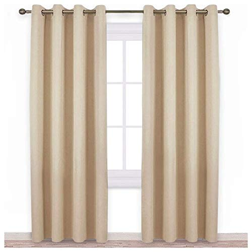 QZXCD CurtainSolid Blackout gordijnen voor woonkamer slaapkamer ramen behandeling jaloezieën kant-en-klare gordijnen modern zwart Out gordijn 1 para W100CM X L200CM Biscotti beige