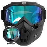 Motorradbrille mit Maske Abnehmbarer, Beschlagfreie Winddichte Motorradbrille Skischutzbrille,...