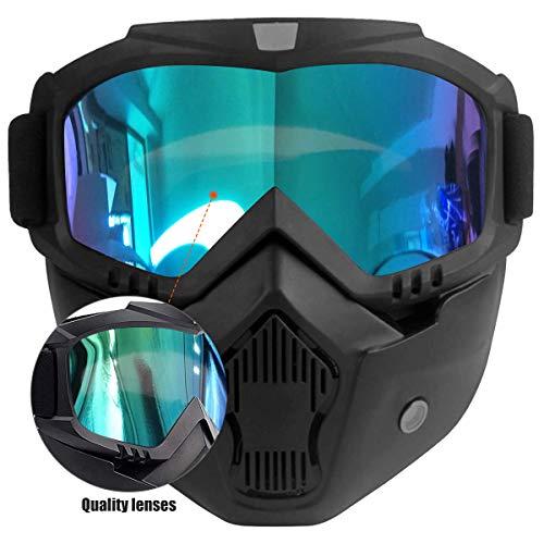 Gafas de Motocross con Máscara Desmontable,Prueba de Viento